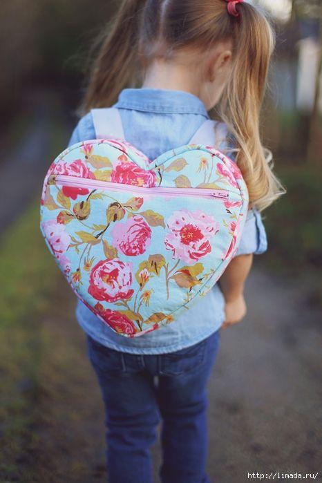 детский рюкзак в виде сердца. мастер - класс