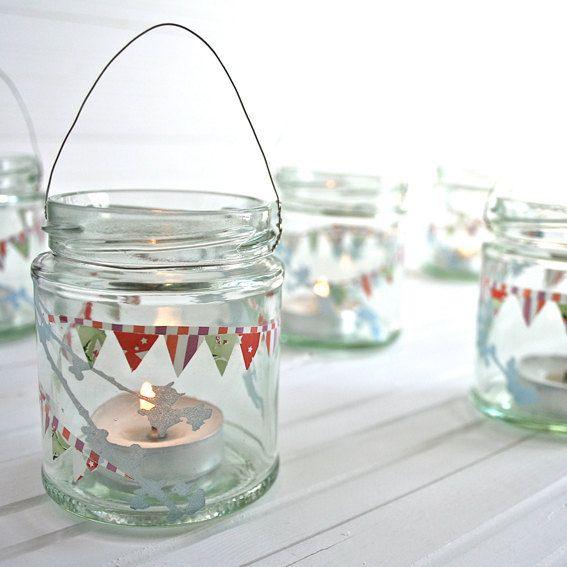 Bunting, tea lights, glass jar - I need these.  Redbrickglass on Etsy (where else)