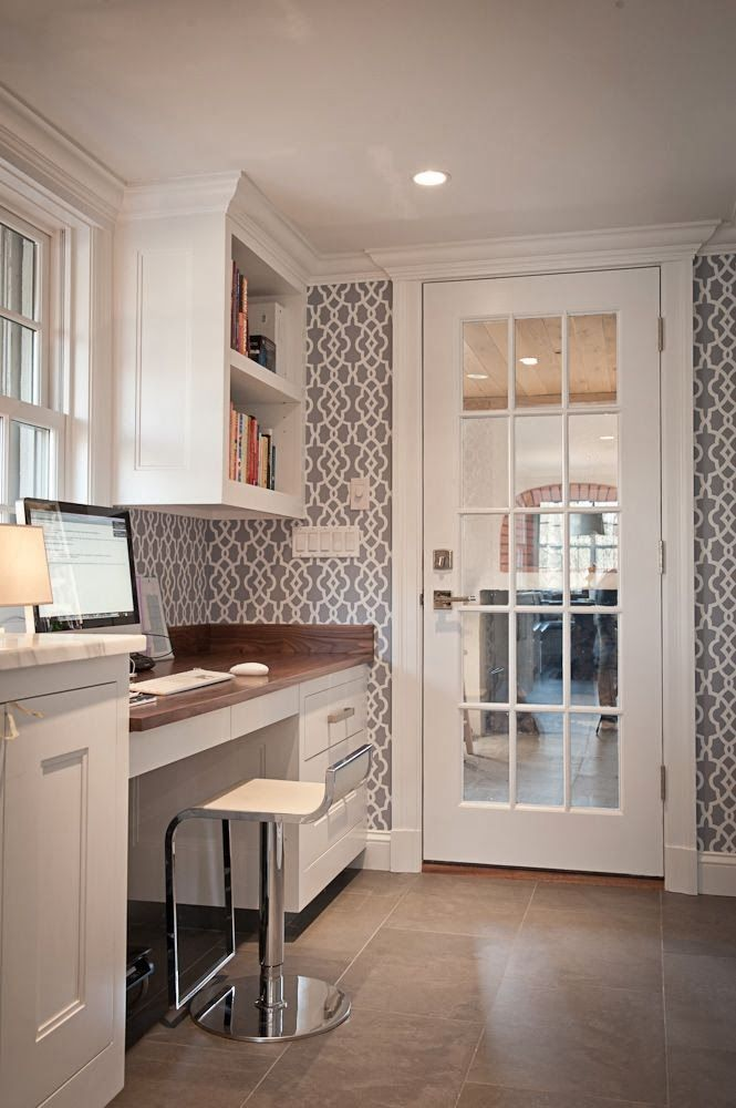 MUDROOM: Desk And Hidden Storage For Printer. Like The Bit More Modern  Feel. Paneled Glass Door Between Entry And Mudroom/desk B/c I Like The  Light In, ...