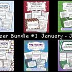 """BUNDLE AND SAVE!  This bundled packet contains all of the Buzzers from January through June! These are great classroom management tools! I love having a few minutes to take attendance before jumping in to class. Buzzers work like bell work or journal writing, with a little twist. The """"Buzzer"""" is the writing prompt. This packet includes over 170 prompts, so you can be picky and choose the ones you like best since there are extras.  $15"""