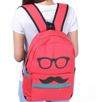 Free shipping cool Glasses Mustache canvas backpack women bagpack schoolbag for teenagers girl college student bags cute mochila