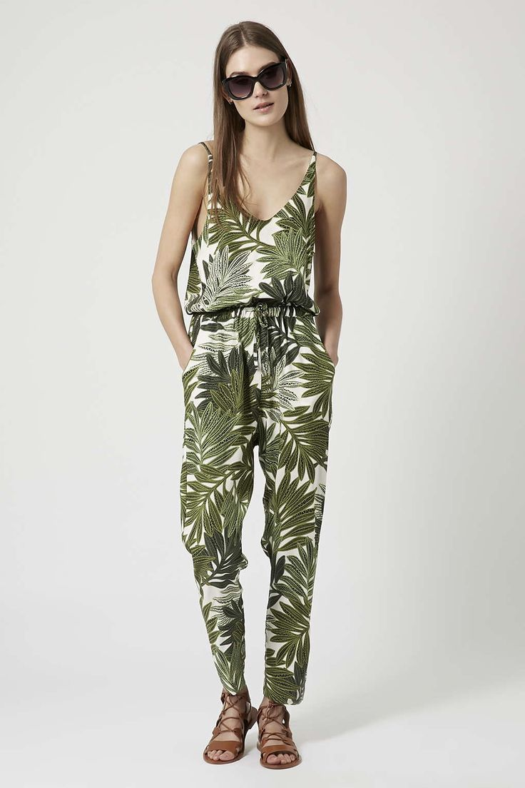 Photo 2 of Palm Leaf Print Strappy Jumpsuit