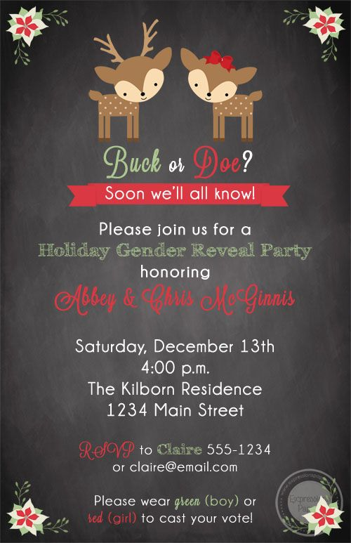 Deer Holiday Gender Reveal Invitations   Expressions Paperie A perfect way to celebrate the holiday season and your upcoming bundle of joy.  A sweet holiday gender reveal invitation. An adorable way to set the tone of your party.