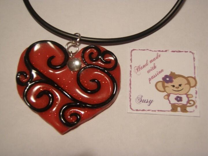 Red heart #handmade www.facebook.com/perlinefantasiose