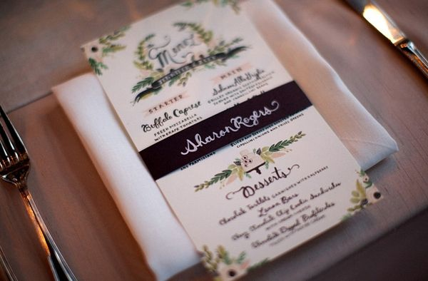 Day-Of Wedding Stationery Inspiration and Ideas: Colorfully Illustrated Menus via Oh So Beautiful Paper (8)