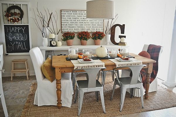 Fall Dining Room Decor. Liz Marie Blog. love the white framed photo with words on it.