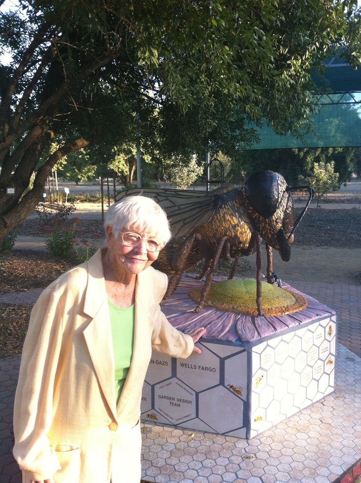 My mother Elisabeth Gray, at the Bee Garden at UC Davis.  Great place to see plants that attract and sustain Honey Bees.