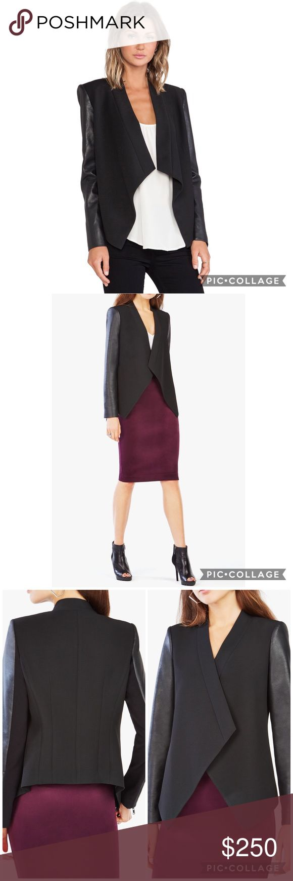 """$298 BCBG MaxAzria Abree Relaxed Jacket Instantly transform any look with this softly tailored jacket.  Cascading open front. Long sleeves. Topstitched trim. Shoulder pads. Self: Polyester, Rayon, Spandex double face. Contrast: 1: Faux leather face. Polyester back. 2: Rayon, Nylon, Spandex ponte. Lining: Polyester. Dry Clean Only. Measures approximately 26.75"""" from shoulder to hem. Fitted sleeves. Relaxed-fit bodice. BCBGMaxAzria Jackets & Coats Blazers"""