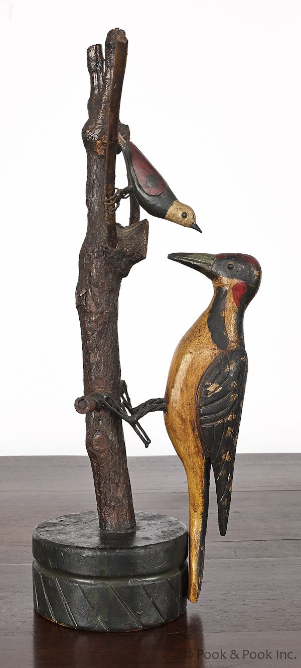 Huge old hand carved wood federal eagle folk art wooden eagle wall - Early 20th C Rocking Woodpecker