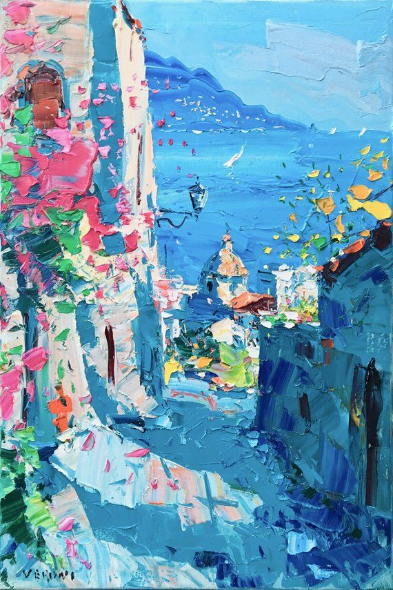 Positano Painting on Canvas, Amalfi Coast, Italy Painting, Original Painting, Abstract Art, Landscap