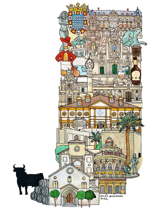 Jerez - ABC illustration series of European cities by Japanese illustrator Hugo Yoshikawa