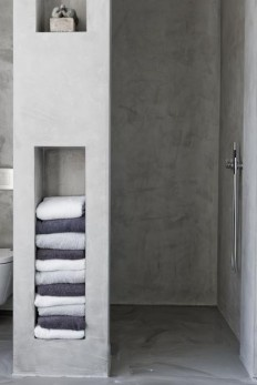 shelves built into shower wall - outside and in?
