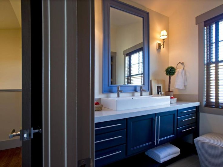 Blue frame for bathroom vanity mirror. Such a pretty colored frame! Via Earth Waves.net.