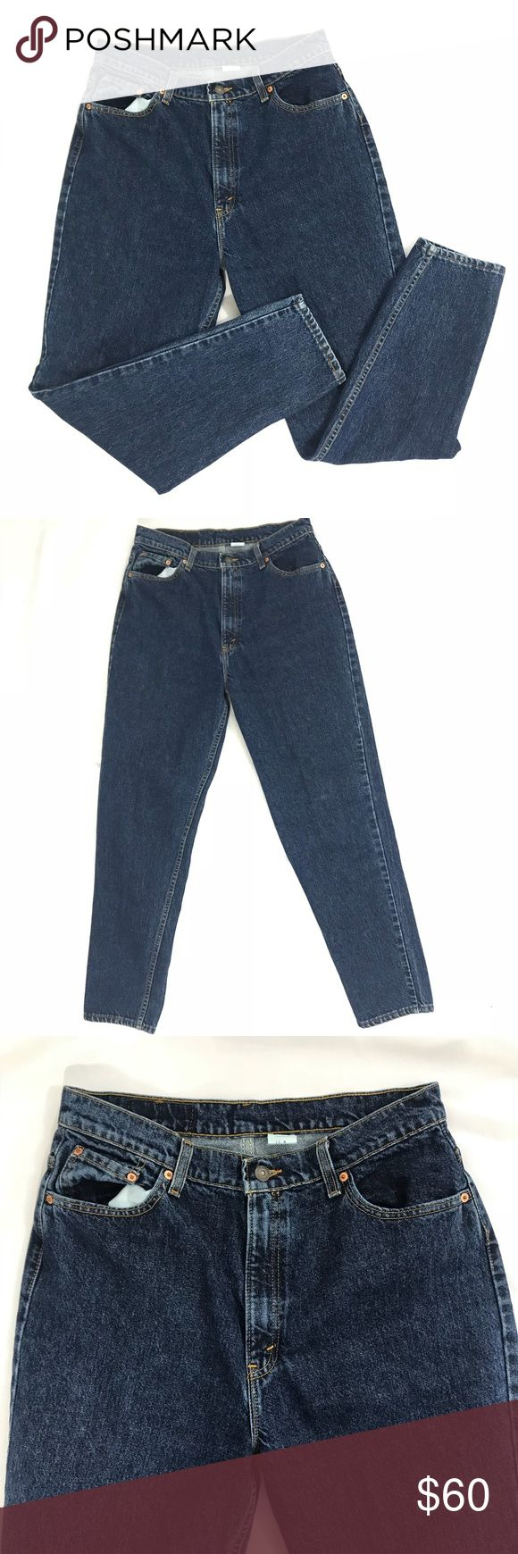 VTG 80's Levis 550 Jeans 16m High Waist Indigo Mom Vintage 1980'S Levi's 550 Relaxed Indigo Wash  Tapered legs and High Waist  Size: 16 M Measures: Waist: 16 1/2 inches laying flat across Hips: 21 1/2 inches laying flat across Rise: 13 inches  Inseam 30 inches Material: 100% COTTON Levi's Jeans