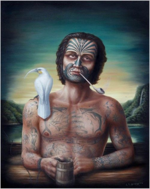 """Between the Devil and the Deep by Liam Barr. John Rutherford b.1796 – A blemished story of an English sailor and sole survivor of the captured American brig Agnes which put in at Tokomaru, Bay of Islands. Surviving for 10 years with local Maori, the """"White New Zealander"""" finally makes his escape."""