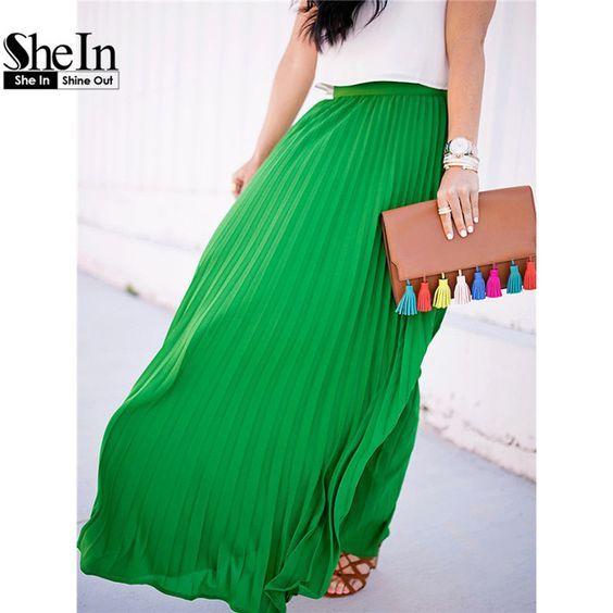 Shein vogue groene hoge taille party wear maxi vrouwelijke rokken nieuwe stijl womens 2016 hot koop dames lange zomer rok