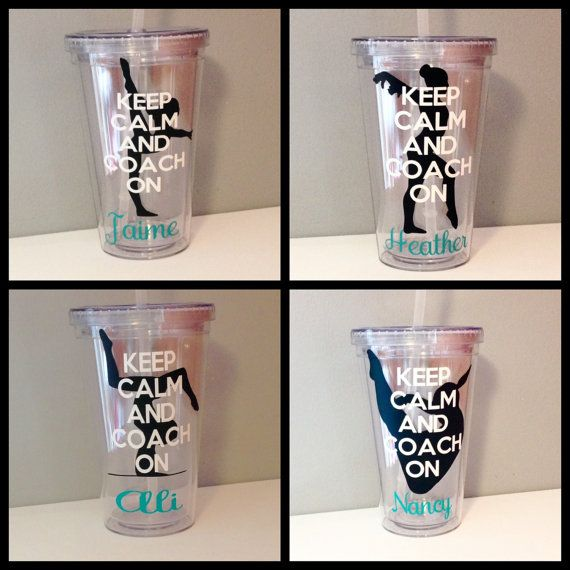 BPA free acrylic tumbler with lid and straw. A great gift for your childs gymnastics coach to show your appreciation. Four options to choose from