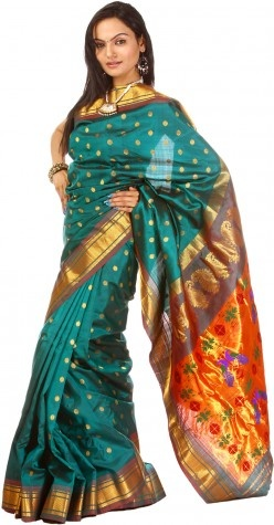 A Gadwal-Woven Pure Silk Sari in Paithani Style, Pallu with Peacock Motifs