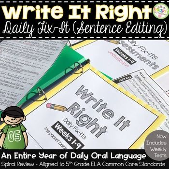An ENTIRE SCHOOL YEAR of paired sentences to be edited each day (36 weeks), Weekly Editing Assessments & Answer Keys. Every week, a new grammar concept is introduced and incorporated in this packet. The packet is a spiral review, so concepts previously introduced are repeated throughout, in order to reinforce and review them. ...