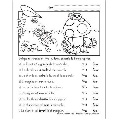 Fichier PDF téléchargeable En noir et blanc seulement Niveau 1re année 1 page L'élève encercle si l'énoncé est vrai ou faux, 9 énoncés avec les concepts: gauche, droite, entre, devant, derrière, sous et sur.