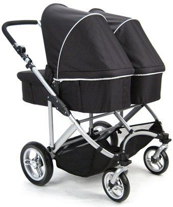 Stroll-Air My Duo Twin Stroller WITH 2 Bassinets (Black)