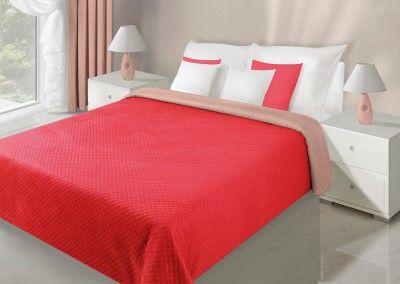 Červeno-béžový prehoz Filip je dostupný v 5 rozmeroch: 70x150, 170x210, 200x220, 220x240 alebo 230x260 cm.