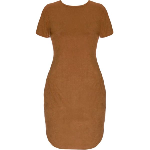 Faux Suede Mini T-Shirt Dress, Camel ($37) ❤ liked on Polyvore featuring dresses, long brown dress, long tee shirt dress, long sleeve short dress, brown dress and crew neck dress