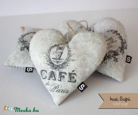 Vintage szív, Dekoráció, Otthon, lakberendezés, Meska #heart #sewing #cafe #vintage #homedecor