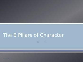 The Six Pillars of Character words are a great way to support your students in growth and development.   This 39 slide PowerPoint presentation will help you to teach ALL of the character words!  Each word is introduced and is defined.  At least one video link (and most of the time 2-3 video links) are included to utilize in prompting a discussion about each one and how it applies to students in school, at home, and in the community.
