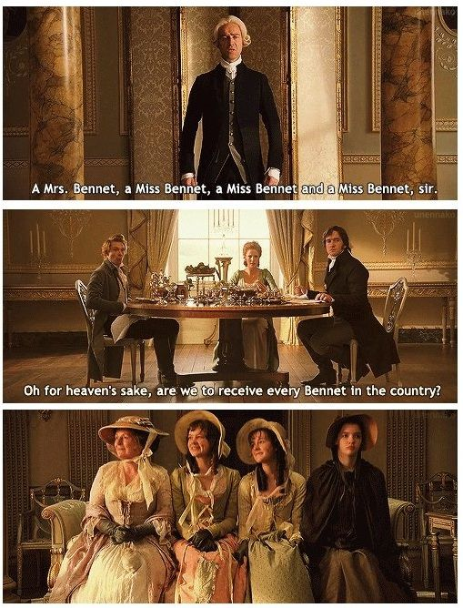 Netherfield Butler: A Mrs. Bennet, a Miss Bennet, a Miss Bennet and a Miss Bennet, sir. Caroline Bingley: Oh for heaven's sake, are we to receive every Bennet in the country? - Pride & Prejudice (2005)