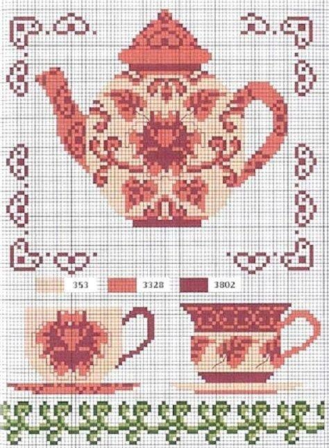 Nuevo patrón de tetera y tazas vintage #punto de cruz