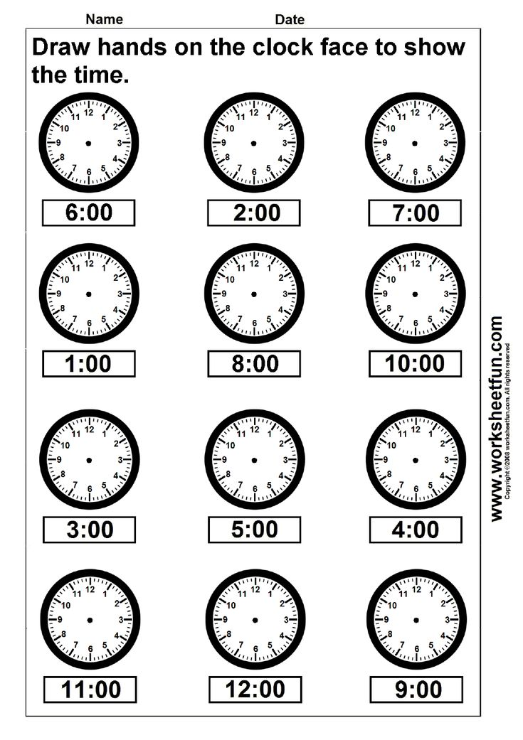 Draw hands on the clock face to show the time - 4 Worksheets