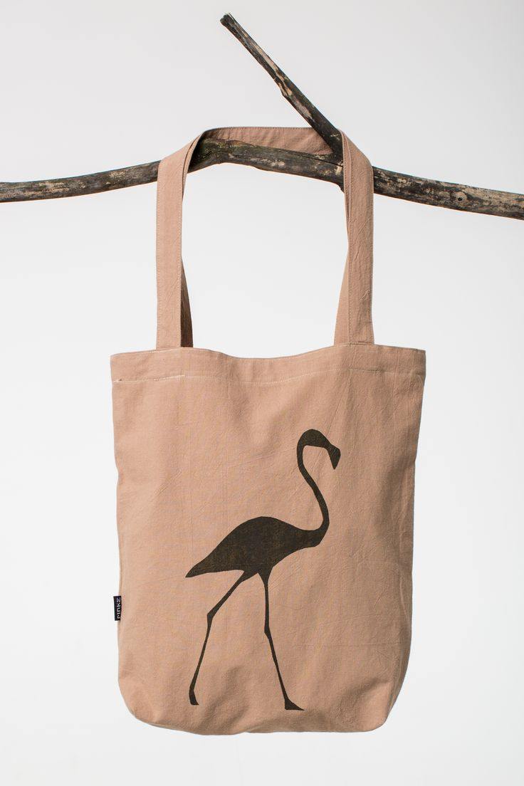 canvas bag with flamingo pattern