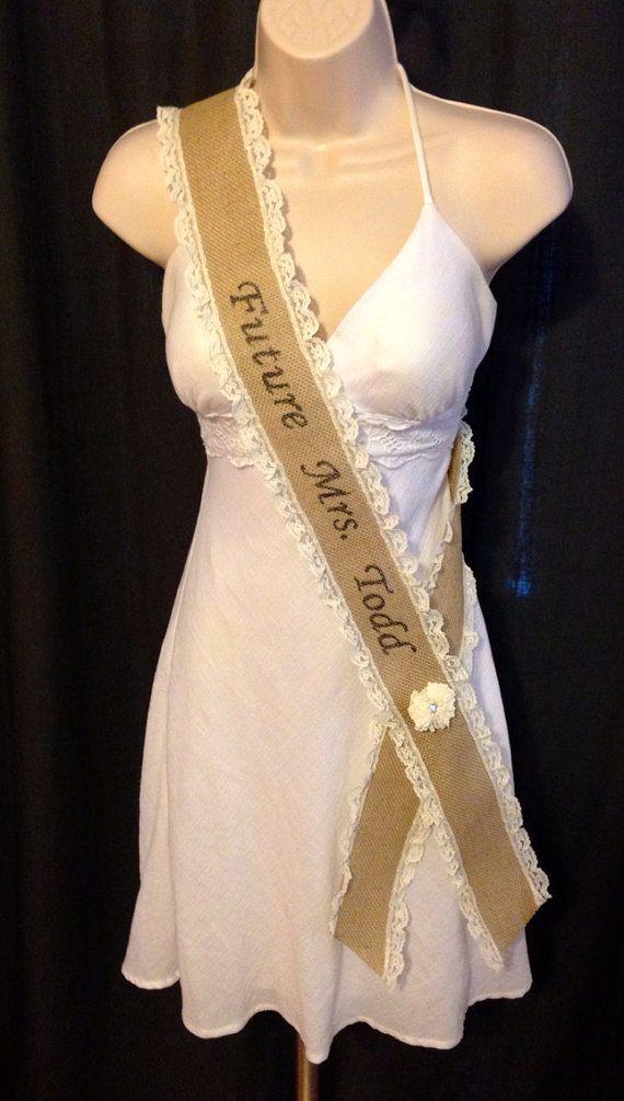 Bachelorette Party Sash - Bridal Shower Sash - Bride To Be Sash - Baby Shower Sash - Personalized Sash - Future Mrs - Burlap & Lace Sash on Etsy, $32.00