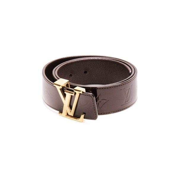 Pre-Owned Louis Vuitton Amarante Monogram Vernis Facettes Belt ($380) ❤ liked on Polyvore featuring accessories, belts, louis vuitton, leather buckle belt, louis vuitton belt, buckle belt and 100 leather belt