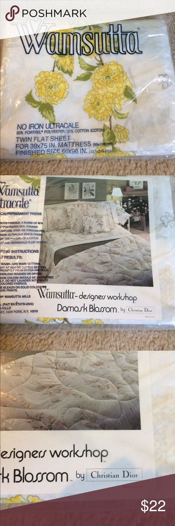 "Wamsutta by Christian Dior twin flat sheet. New Wamsutta by Christian Dior twin flat sheet. I have 3 sheets. No iron ultracale. 50% polyester, 50% cotton. For matress 39""x 75"", finished size 66""x96"" Wamsutta by Christian Dior Other"