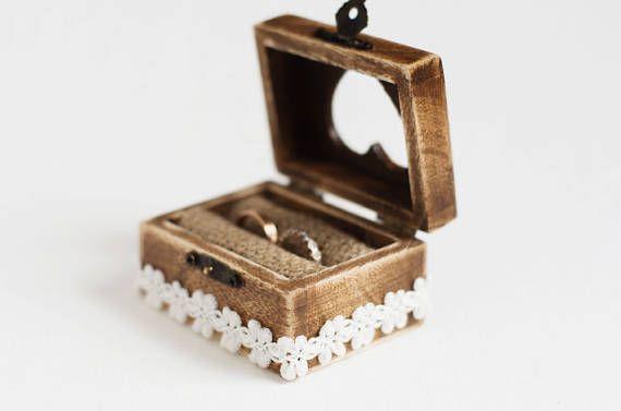 Caja del anillo de boda anillo caja de boda caja de madera