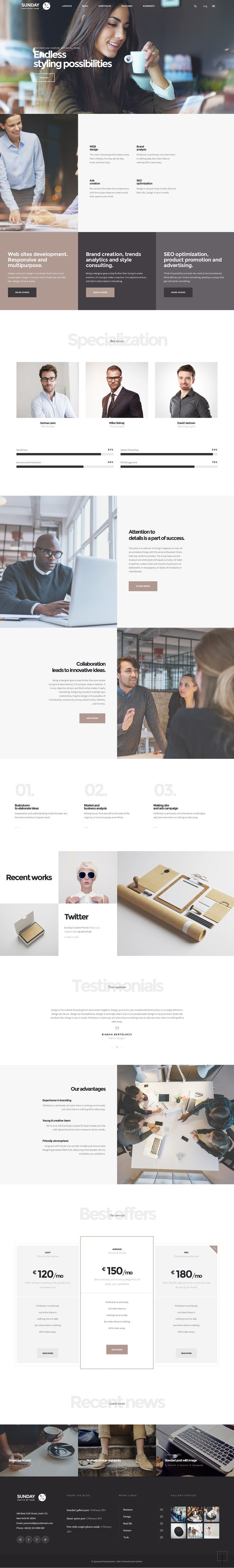 Sunday - Highly Functional Multifaceted WP Theme on Behance