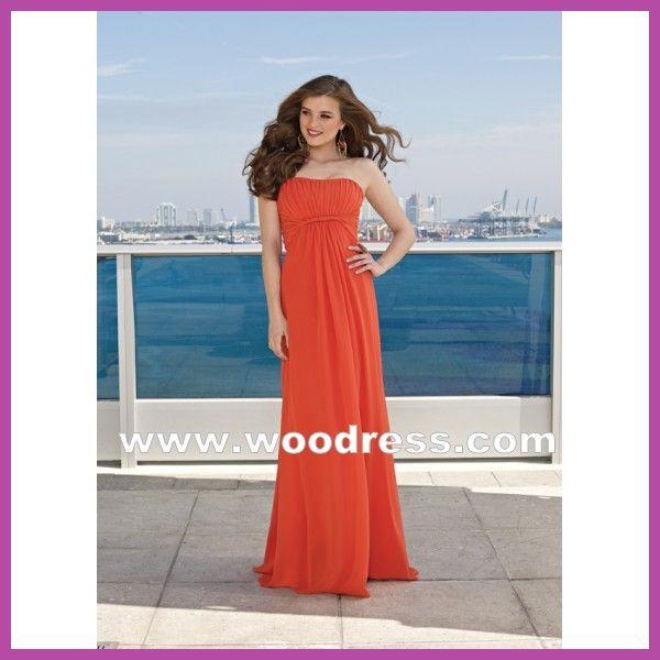 Verticaal Strapless bodice rijk A-line gown Chiffon oranje bruidsmeisje jurken stijl 285