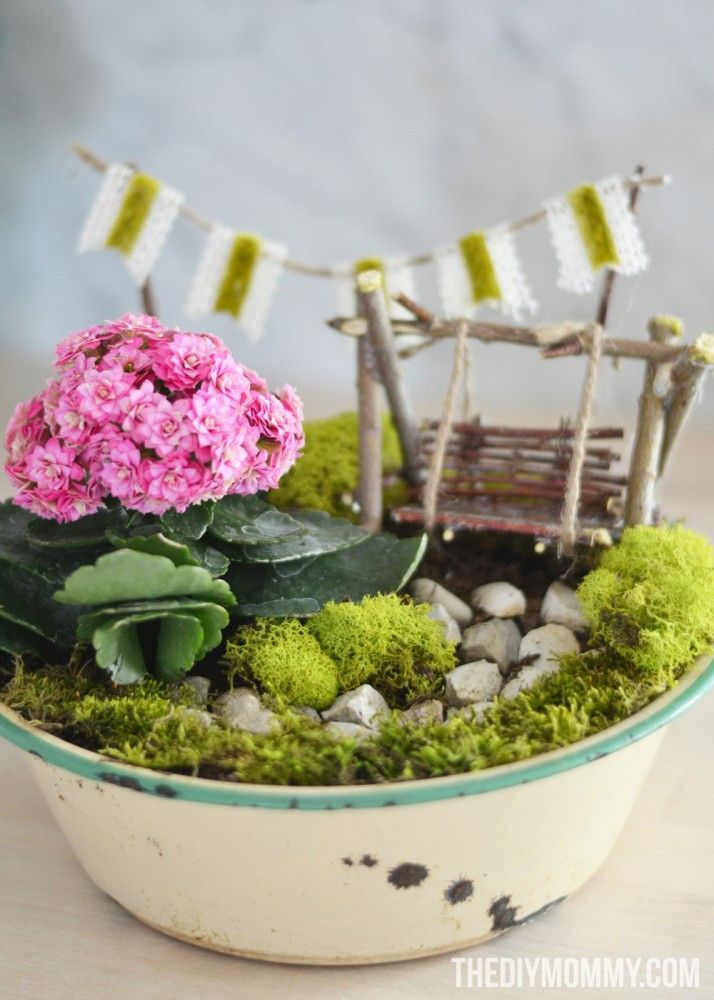 How to make a diy mini fairy garden gift in a vintage for How to make a fairy garden container
