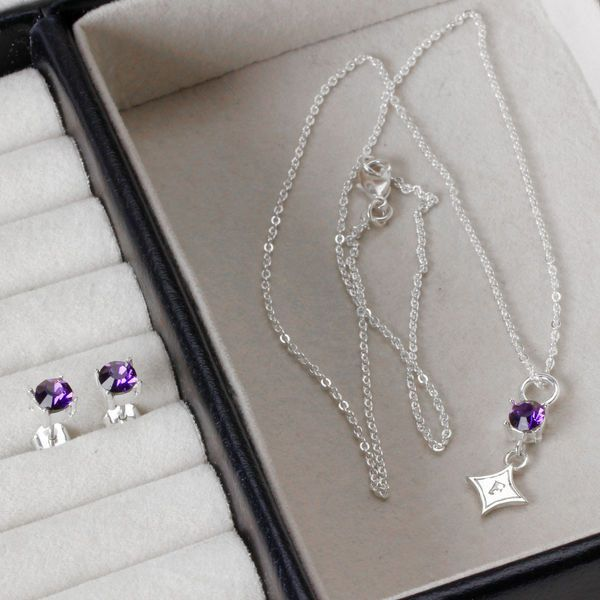 Furman Paladins Dayna Pro Crystal Drop Earring & Necklace Set