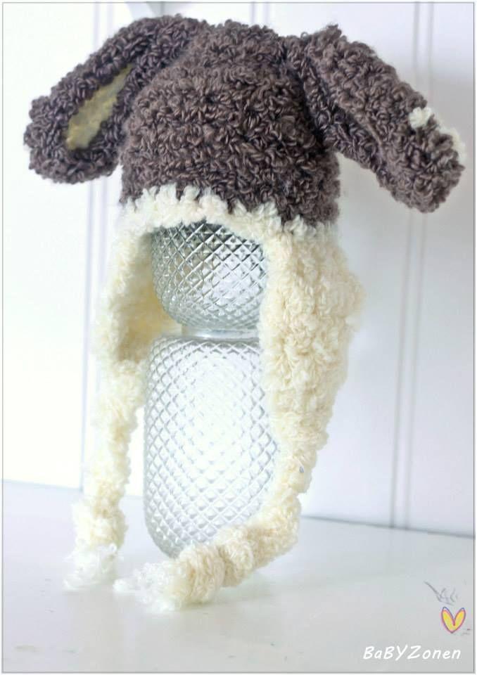 Oppskrift på strikket og heklet kanin lue, str 0-3 mnd.