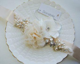 Bridal sash Burlap Rustic Gold Blush Rose Champagne by LeFlowers