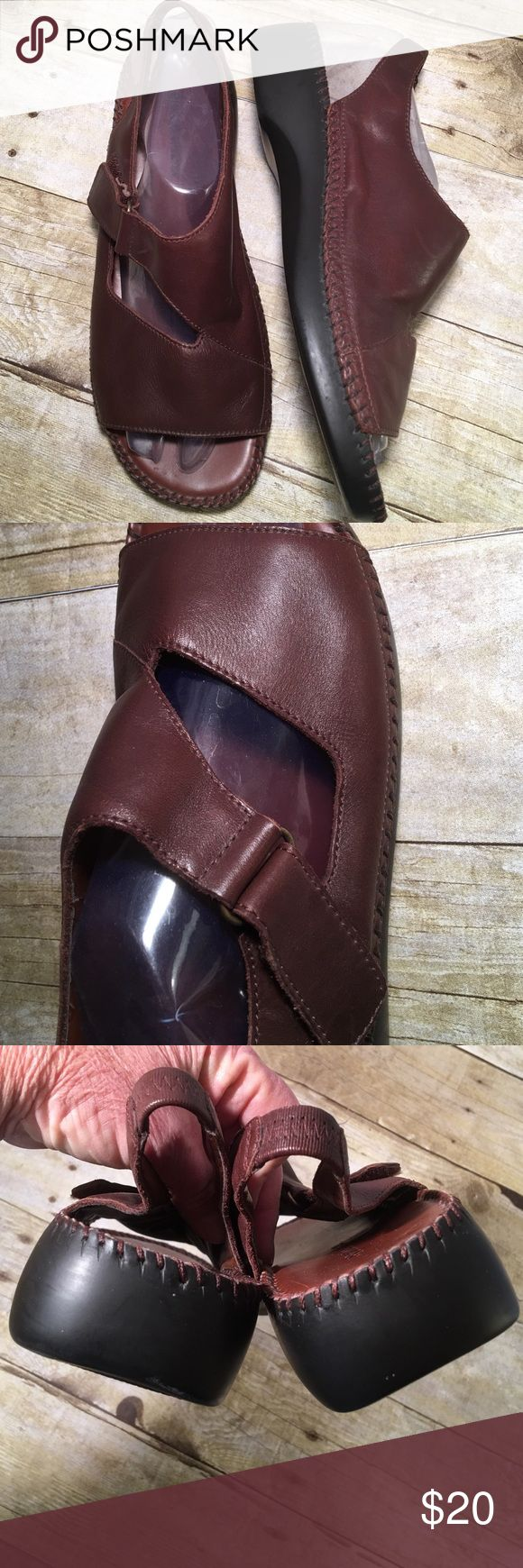 """Naturalized Brown Velcro Straps Leather Upper 91/2 Great pair of very cushioned instep. Non slip sole. Velcro straps. All stitching is intact. 1 1/2"""" wedge. Excellent condition and comes from my non smoking home Naturalizer Shoes Sandals"""