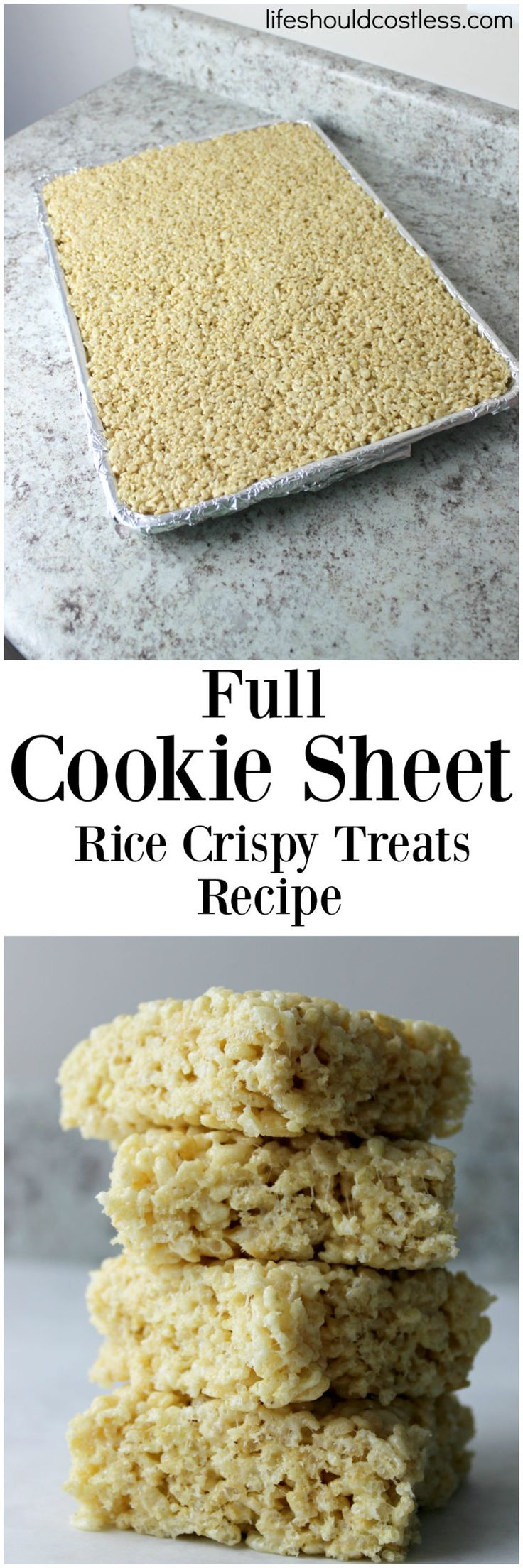 Full Cookie Sheet Rice Crispy Treats Recipe. Feed a crowd with just one batch or take it to a bake sale. This is one of those Popular Dessert Pins that you won't want to lose.