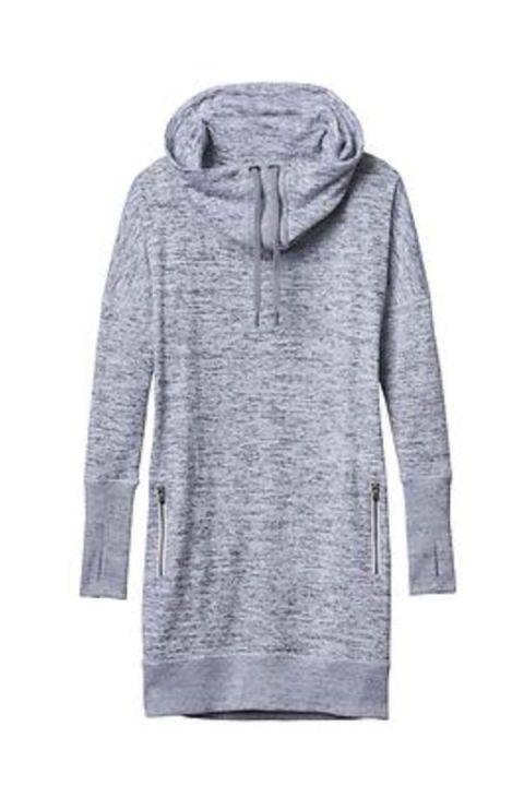 50 Dresses That Show Off Your Arms in the Best Way - GETTIN' COZY - Perfect for lazy Saturday mornings or layering over your morning workout duds, this sweatshirt dress keeps you comfy while still looking cute. Sport It Dress, $98; Athleta.