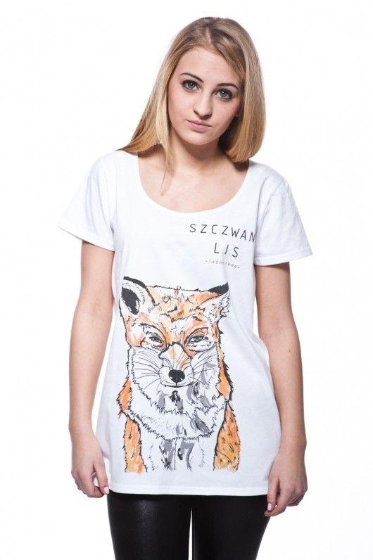 bluzki - t-shirty - damskie-LEŚNE RUNO - SZCZWANY LIS t-shirt damski