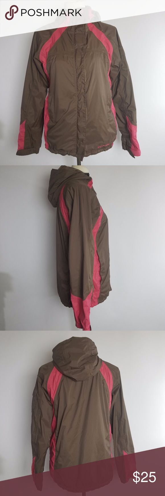 Columbia packable rain jacket brown size Small Columbia womens Omni Tech Light Weight Packable Jacket Size Small Brown Pink hooded Columbia Jackets & Coats