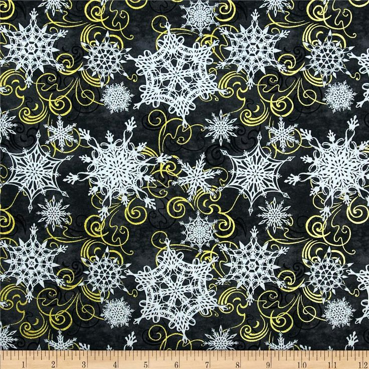 Crystal Palace Swirly Snowflake Black from @fabricdotcom Designed by Whimsical Wishes for Studio E Fabrics, this cotton print fabric is perfect for quilting, apparel and home decor accents. Colors include metallic gold, blueish grey and black on a charcoal background.