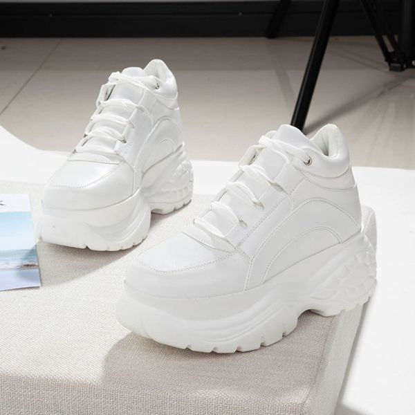 Us 26 40 56 Off 2020 White Fashion Women Platform Sneakers Leather Causal Ladies Chunky Sneak In 2020 White Platform Sneakers Chunky Shoes Women Platform Sneakers